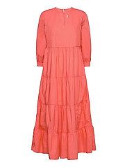 Tiered Split-Neck Dress - PINK REEF 2