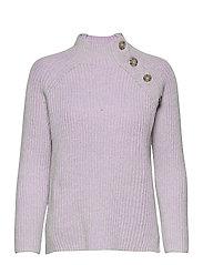 Asymmetrical Button Mockneck Raglan Sweater - LILAC