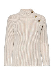 Asymmetrical Button Mockneck Raglan Sweater - MARSHMALLOW 11-4300TCX