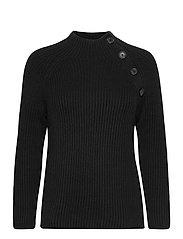 Asymmetrical Button Mockneck Raglan Sweater - TRUE BLACK