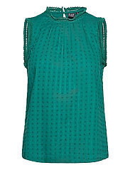 Shirred Lace Top - TEAL GREEN 19-4922 TCX