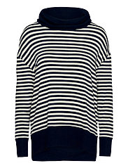 Softspun Cowl-Neck Top - NAVY STRIPE