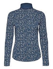 Funnel-Neck Print T-Shirt - BLUE FLORAL