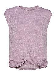 Softspun Sleeveless Twist-Knot Front T-Shirt - ELDERBERRY