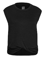 Softspun Sleeveless Twist-Knot Front T-Shirt - TRUE BLACK