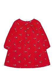 Toddler Floral Corduroy Dress - RED FLORAL PRINT
