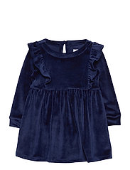 Toddler Velour Ruffle Skater Dress - NAVY UNIFORM V2