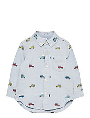 Toddler Car Print Oxford Shirt - LIGHT BLUE SHADOW