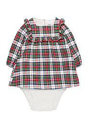 Baby Plaid Dress - IVORY FROST