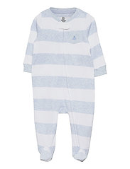 Baby Stripe One-Piece - BLUE HEATHER