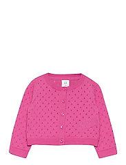 Toddler Pointelle Cardigan - NEON PINK ROSE