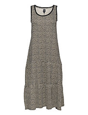 Sleeveless Tiered Maxi Dress - FLORAL PRINT