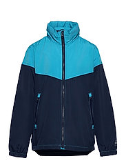 Kids 100% Recycled Polyester Colorblock Windbuster - CYAN BLUE 579