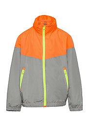 Kids 100% Recycled Polyester Colorblock Windbuster - NEON ORANGE BOLT