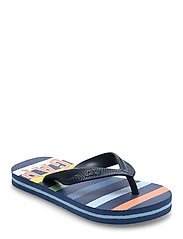 Kids Stripe Gap Logo Flip Flops - NAVY MULTI STRIPE V2