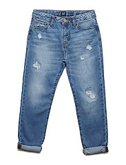 Kids Destructed Girlfriend Jeans - MEDIUM WASH