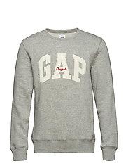 Gap Logo Fleece Crewneck Sweatshirt - HEATHER GREY