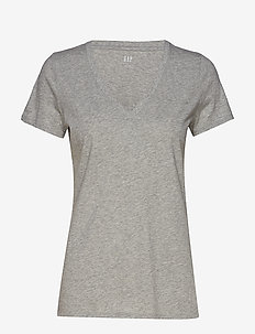 Vintage Wash V-Neck T-Shirt - HEATHER GREY
