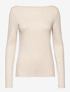 Modern Long Sleeve Boatneck T-Shirt - langærmede toppe - oatmeal heather b0210