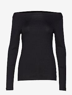 Modern Long Sleeve Boatneck T-Shirt - langærmede toppe - true black