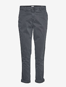 Girlfriend Twill Stripe Khakis - WASHED BLACK