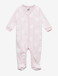 Baby First Favorite Print Footed One-Piece - one-sie - pink heather