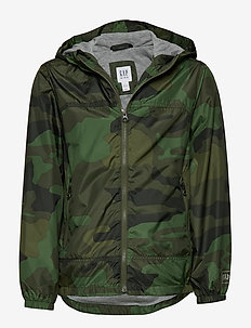 Kids Jersey-Lined Windbuster - windbreaker - green camo