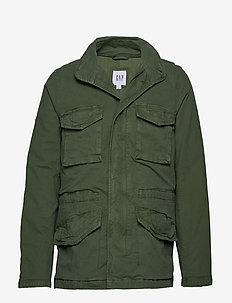 Military Jacket with Hidden Hood - coupe-vent - spring green