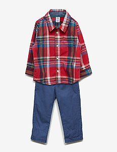 Baby Plaid Khaki Outfit Set - trousers - weathered red