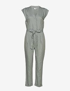Cap Sleeve V-Neck Jumpsuit in Linen - combinaisons - sage