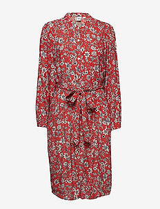 Perfect Long Sleeve Pleated Tie-Waist Shirtdress - RED FLORAL PRINT