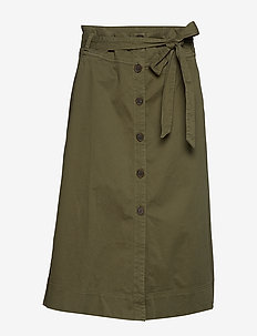 Tie-Belt Button-Front Midi Skirt - SPANISH OLIVE
