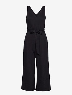 Sleeveless Ribbed Knit V-Neck Jumpsuit - TRUE BLACK V2 3
