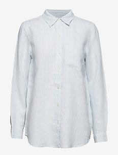 Boyfriend Shirt in Linen - BLUE STRIPE COMBO B