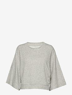 Double Knit Wide-Sleeve Crop Pullover Sweatshirt - LIGHT HEATHER GREY