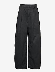 High Rise Pleated Wide Leg Chinos - TRUE BLACK V2