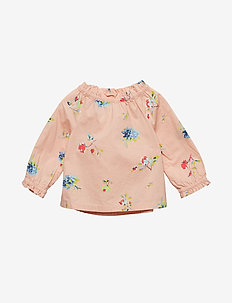 Toddler Floral Ruffle Top - NEW CORAL
