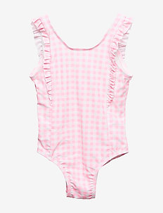 Toddler Gingham Ruffle Swim One-Piece - maillots 1 pièce - neon impulsive pink