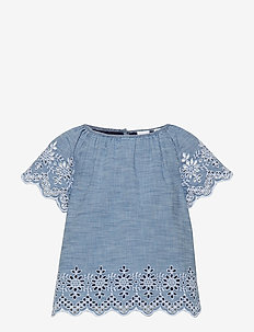 Kids Chambray Eyelet Top - chemisiers & tuniques - blue chambray