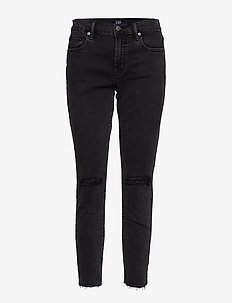 Mid Rise True Skinny Ankle Jeans - skinny jeans - washed black