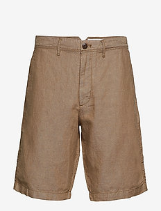 "10"" Khaki Shorts in Linen-Cotton - chinos shorts - khaki"