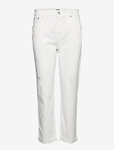 Mid Rise Girlfriend Jeans with Distressed Detail - straight jeans - salt denim
