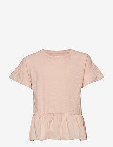 Kids Short Sleeves Peplum Top - CANDLESTICK CORAL