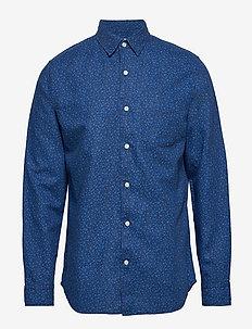 Linen-Cotton Shirt in Standard Fit - DARK INDIGO FLORAL