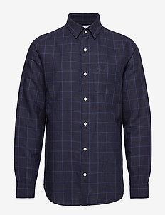 Linen-Cotton Shirt in Standard Fit - basic shirts - navy print