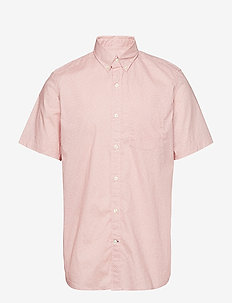 Lived-In Stretch Poplin Short Sleeve Shirt - basic shirts - pink geo