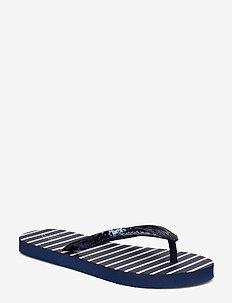 Kids Glitter Stripe Flip Flops - NAVY UNIFORM