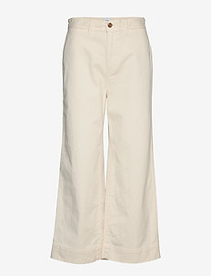 High Rise Wide-Leg Crop Khakis - pantalons larges - ivory frost