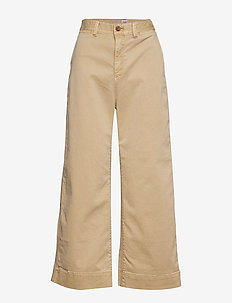 High Rise Wide-Leg Crop Chinos - KHAKI1