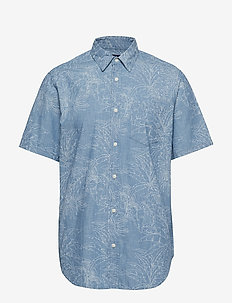 Print Denim Short Sleeve Shirt - TROPICAL BLUE